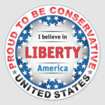 Proud Conservative Round Stickers