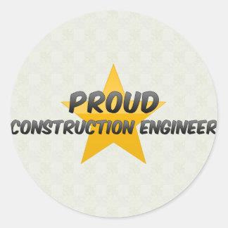Proud Construction Engineer Round Sticker