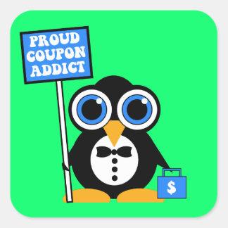 proud coupon addict square sticker