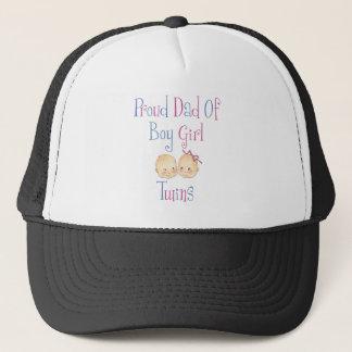 Proud Dad of Boy Girl Twins Trucker Hat