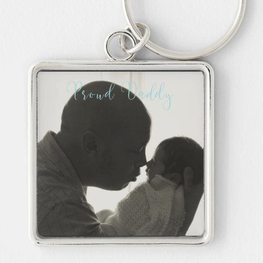 Proud Daddy Photo Large Square Keychain