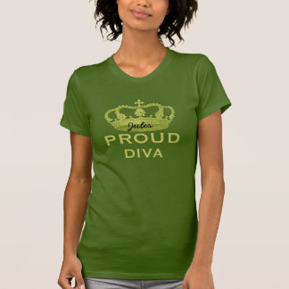 Proud Diva Olive Green Tee with Lime Crown
