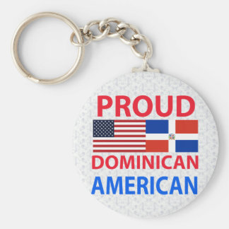 Proud Dominican American Basic Round Button Key Ring
