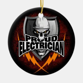Proud Electrician Skull Round Ceramic Decoration