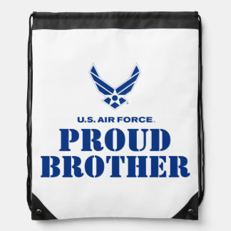 Proud Family – Small Air Force Logo & Name Drawstring Backpack