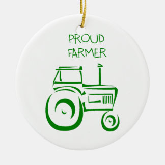 Proud Farmer Tractor Round Ceramic Decoration