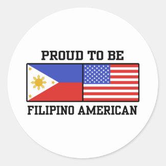Proud Filipino American Round Sticker