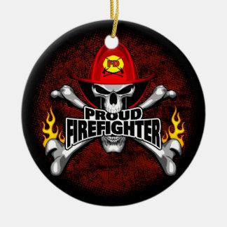 Proud Firefighter Skull and Crossbones Round Ceramic Decoration