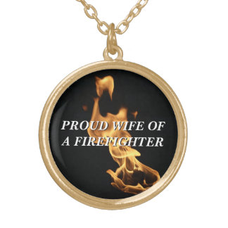 Proud Firefighter's Wife Flames Round Pendant Necklace