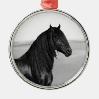 Proud Friesian black stallion horse Christmas Ornament