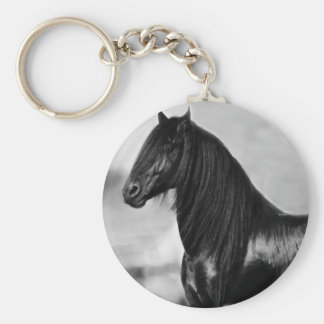 Proud Friesian black stallion horse Key Ring