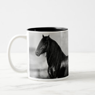 Proud Friesian black stallion horse Two-Tone Coffee Mug