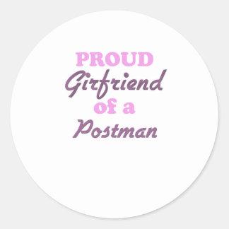 Proud Girlfriend of a Postman Round Sticker