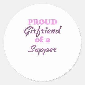 Proud Girlfriend of a Sapper Round Sticker