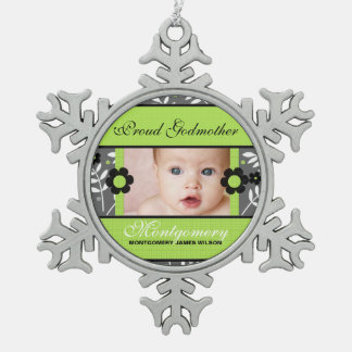 Proud Godmother Photo Ornament | Green Christmas