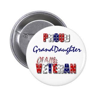 Proud granddaughter war veteran 6 cm round badge