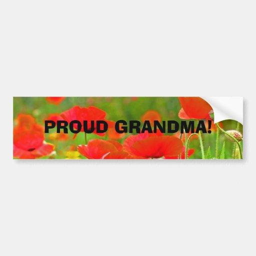 PROUD GRANDMA! bumper stickers Poppy Flowers