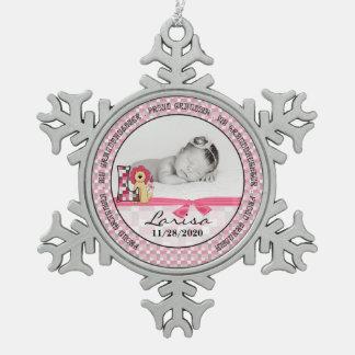 Proud Grandma   Monogram L   Pink New Baby Pewter Snowflake Decoration