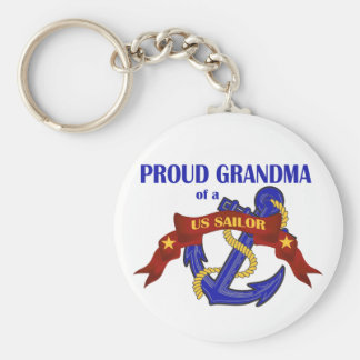 Proud Grandma of a US Sailor Basic Round Button Key Ring