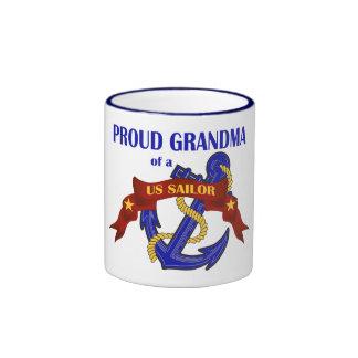 Proud Grandma of a US Sailor Ringer Mug