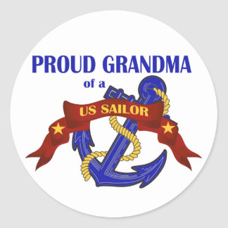 Proud Grandma of a US Sailor Round Sticker