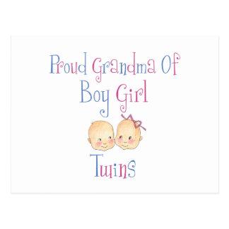 Proud Grandma of Boy Girl Twins Postcard