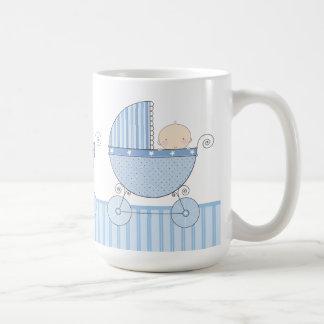 Proud Grandma of Twin Boys Baby Blue Carriage Basic White Mug