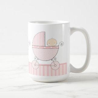 Proud Grandma of Twin Girls Baby Pink Carriage Basic White Mug