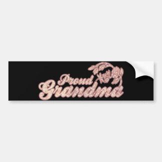 Proud Grandma Pink Flowers Bumper Sticker