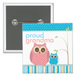 Proud Grandma to Be & Baby Boy Owl 15 Cm Square Badge