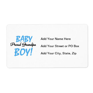 Proud Grandpa Baby Boy T-shirts and Gifts Shipping Label