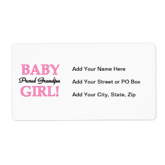 Proud Grandpa Baby Girl Gifts Shipping Label