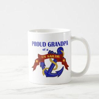 Proud Grandpa of a US Sailor Basic White Mug