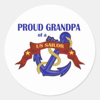 Proud Grandpa of a US Sailor Round Sticker