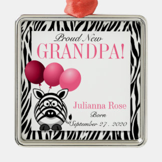 Proud Grandpa Pink Zebra Print Custom Silver-Colored Square Decoration