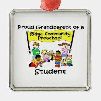 Proud Grandparent Silver-Colored Square Decoration