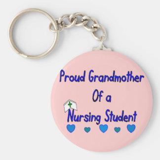 Proud Granmother Nursing Student Basic Round Button Key Ring