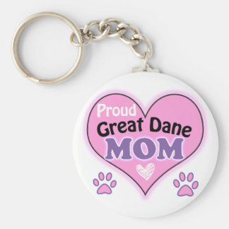 Proud great dane Mom Basic Round Button Key Ring