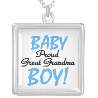 Proud Great Grandma Baby Boy Gifts Silver Plated Necklace