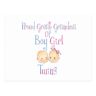 Proud Great Grandma Of Boy Girl Twins Postcard