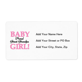 Proud Great Grandpa Baby Girl Gifts Shipping Label