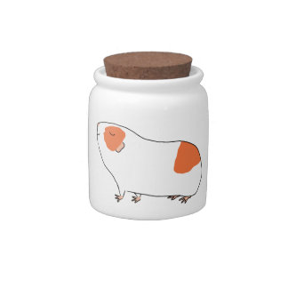 Proud Guinea-pig - Orange and White Ceramic Candy Jar