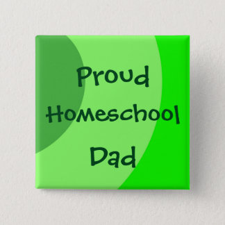 Proud Homeschool Dad Green Swirls 15 Cm Square Badge