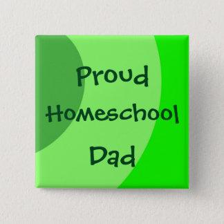 Proud Homeschool Dad Green Swirls 15 Cm Square Badge