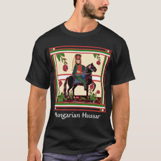 Proud Hungarian Hussar on a Black Horse Folk Art T-Shirt