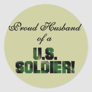 Proud Husband of a US Soldier Tshirts and Gifts Sticker