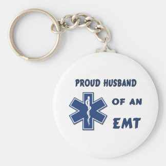 Proud Husband Of An EMT Basic Round Button Key Ring