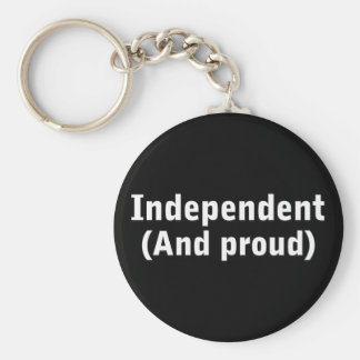 Proud Independent Basic Round Button Key Ring