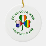 Proud Irish American & Gay Double-Sided Ceramic Round Christmas Ornament