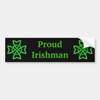 Proud Irishman Green Celtic Knots Car Bumper Sticker